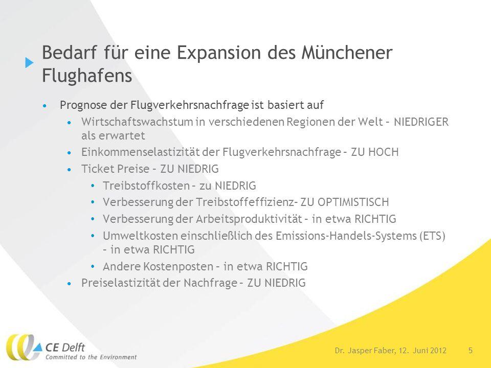 5 Bedarf für eine Expansion des Münchener Flughafens Prognose der Flugverkehrsnachfrage ist basiert auf Wirtschaftswachstum in verschiedenen Regionen
