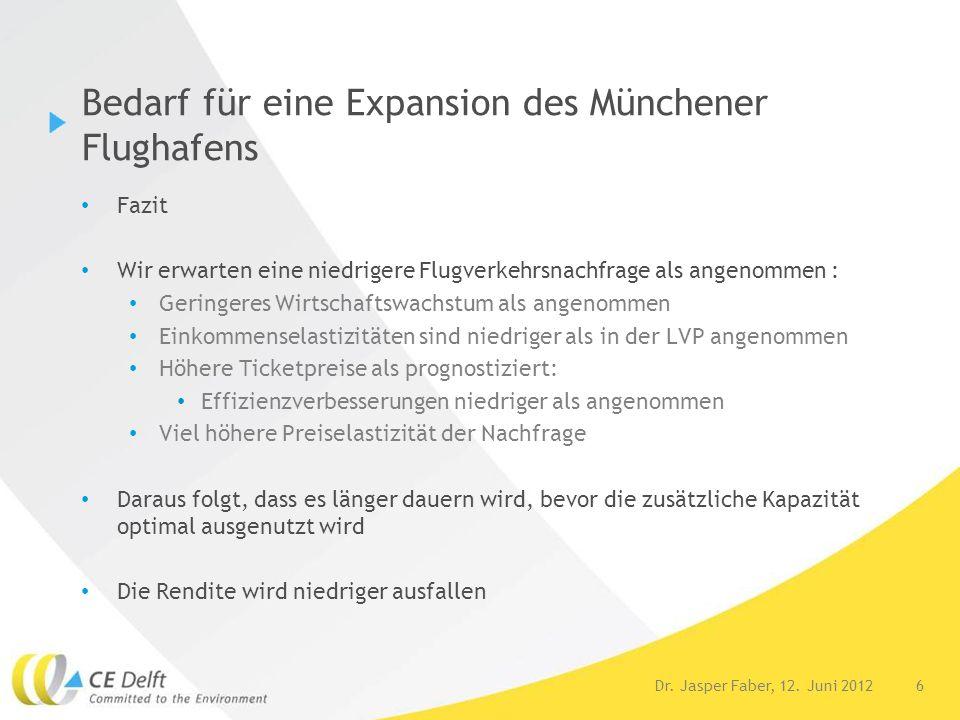 6Dr. Jasper Faber, 12. Juni 2012 Bedarf für eine Expansion des Münchener Flughafens Fazit Wir erwarten eine niedrigere Flugverkehrsnachfrage als angen