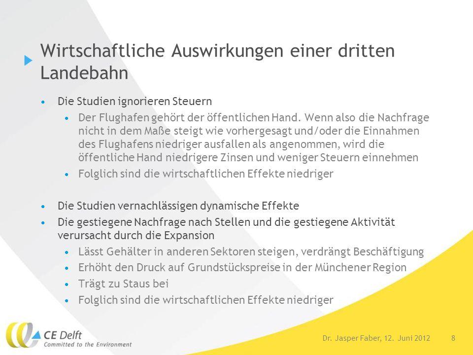 8Dr. Jasper Faber, 12. Juni 2012 Wirtschaftliche Auswirkungen einer dritten Landebahn Die Studien ignorieren Steuern Der Flughafen gehört der öffentli