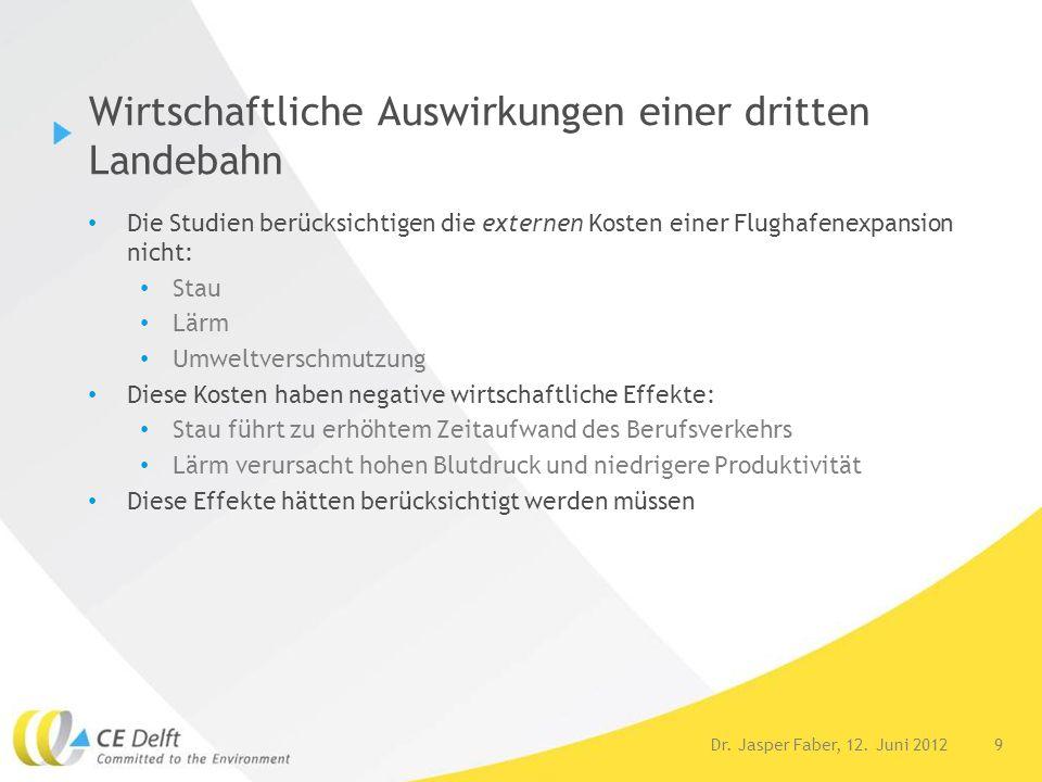 9Dr. Jasper Faber, 12. Juni 2012 Wirtschaftliche Auswirkungen einer dritten Landebahn Die Studien berücksichtigen die externen Kosten einer Flughafene