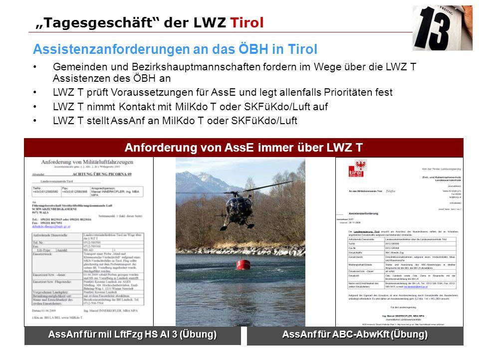 Gemeinden und Bezirkshauptmannschaften fordern im Wege über die LWZ T Assistenzen des ÖBH an LWZ T prüft Voraussetzungen für AssE und legt allenfalls Prioritäten fest LWZ T nimmt Kontakt mit MilKdo T oder SKFüKdo/Luft auf LWZ T stellt AssAnf an MilKdo T oder SKFüKdo/Luft Tagesgeschäft der LWZ Tirol Assistenzanforderungen an das ÖBH in Tirol AssAnf für ABC-AbwKft (Übung) AssAnf für mil LftFzg HS Al 3 (Übung) Anforderung von AssE immer über LWZ T
