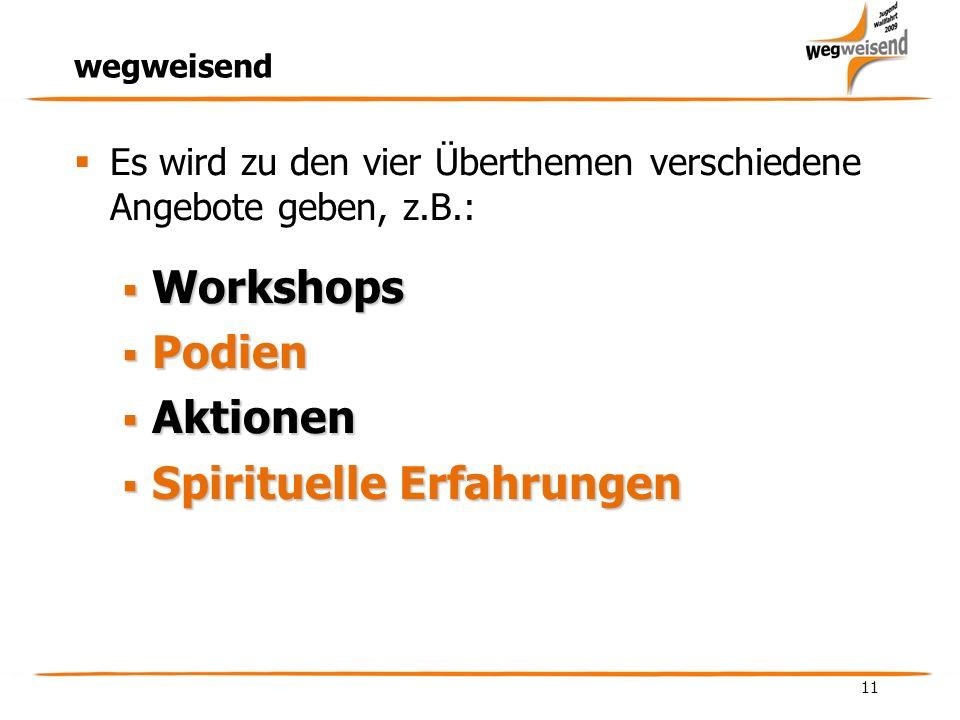 11 wegweisend Es wird zu den vier Überthemen verschiedene Angebote geben, z.B.: Workshops Workshops Podien Podien Aktionen Aktionen Spirituelle Erfahrungen Spirituelle Erfahrungen