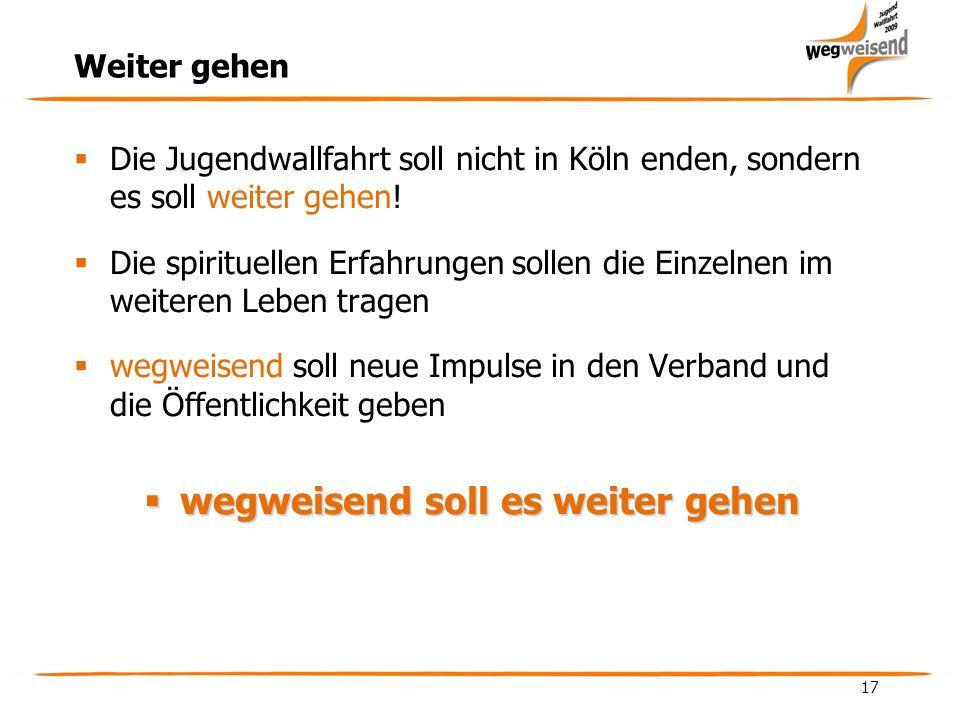 17 Weiter gehen Die Jugendwallfahrt soll nicht in Köln enden, sondern es soll weiter gehen.