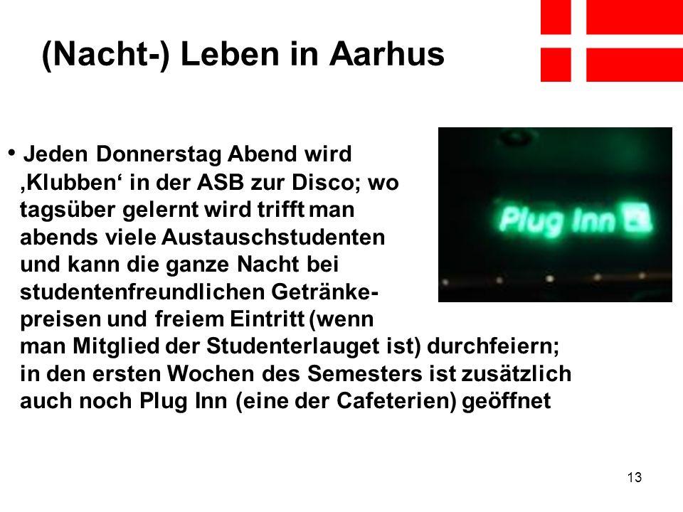 13 (Nacht-) Leben in Aarhus Jeden Donnerstag Abend wird Klubben in der ASB zur Disco; wo tagsüber gelernt wird trifft man abends viele Austauschstuden