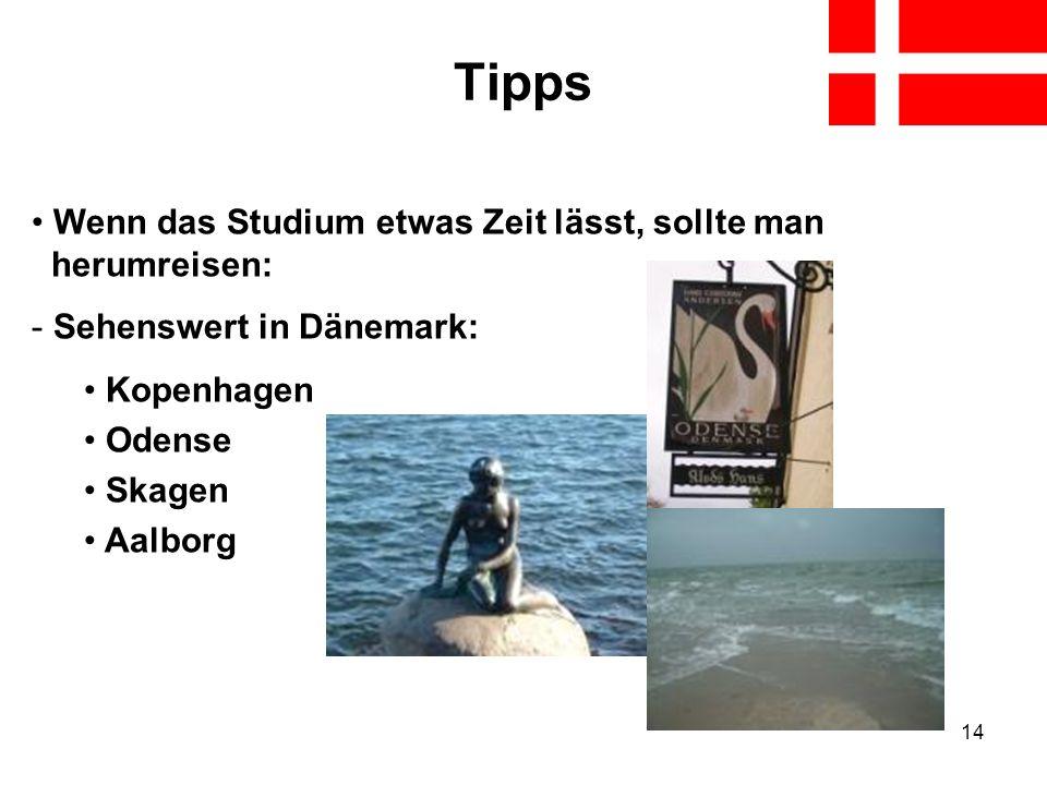 14 Tipps Wenn das Studium etwas Zeit lässt, sollte man herumreisen: - Sehenswert in Dänemark: Kopenhagen Odense Skagen Aalborg