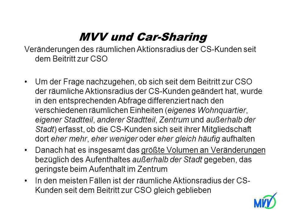 MVV und Car-Sharing Veränderungen des räumlichen Aktionsradius der CS-Kunden seit dem Beitritt zur CSO Um der Frage nachzugehen, ob sich seit dem Beit