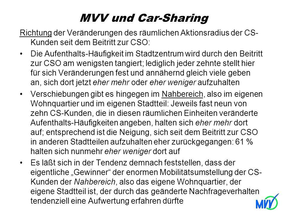 MVV und Car-Sharing Richtung der Veränderungen des räumlichen Aktionsradius der CS- Kunden seit dem Beitritt zur CSO: Die Aufenthalts-Häufigkeit im St