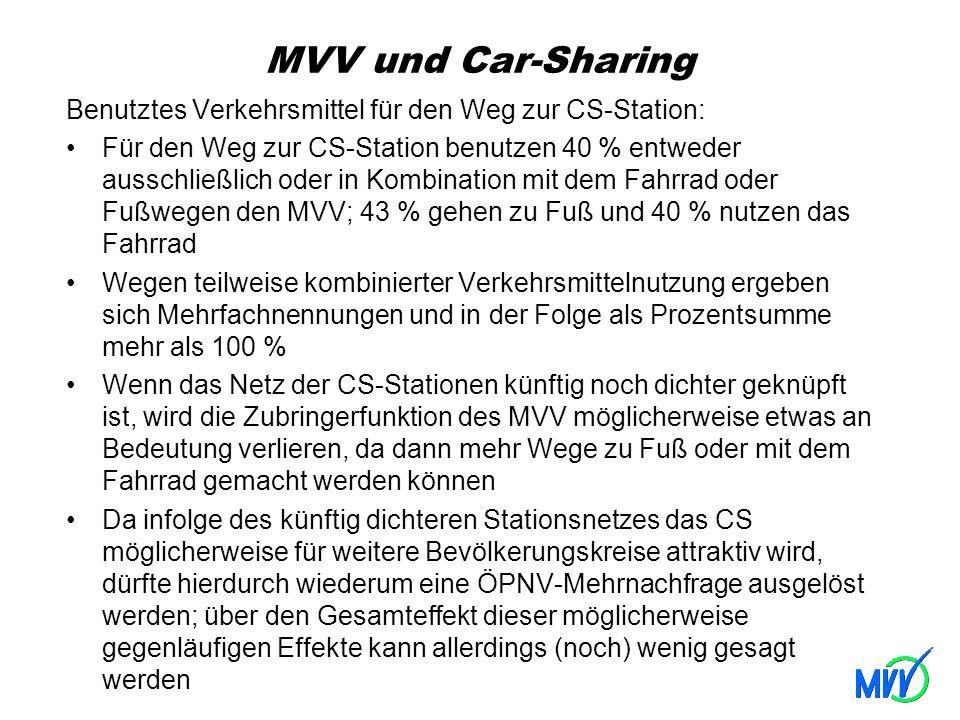 MVV und Car-Sharing Benutztes Verkehrsmittel für den Weg zur CS-Station: Für den Weg zur CS-Station benutzen 40 % entweder ausschließlich oder in Komb