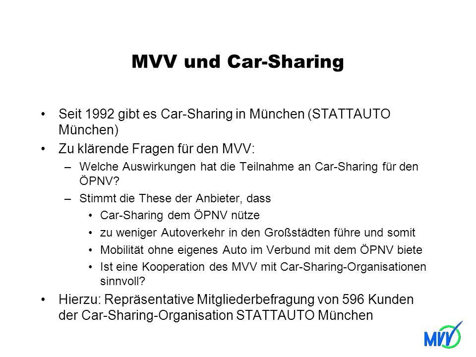 MVV und Car-Sharing Seit 1992 gibt es Car-Sharing in München (STATTAUTO München) Zu klärende Fragen für den MVV: –Welche Auswirkungen hat die Teilnahm