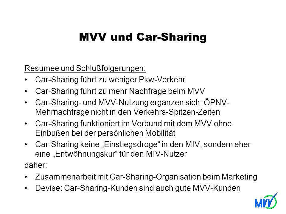 MVV und Car-Sharing Resümee und Schlußfolgerungen: Car-Sharing führt zu weniger Pkw-Verkehr Car-Sharing führt zu mehr Nachfrage beim MVV Car-Sharing-