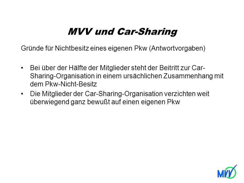 MVV und Car-Sharing Gründe für Nichtbesitz eines eigenen Pkw (Antwortvorgaben) Bei über der Hälfte der Mitglieder steht der Beitritt zur Car- Sharing-