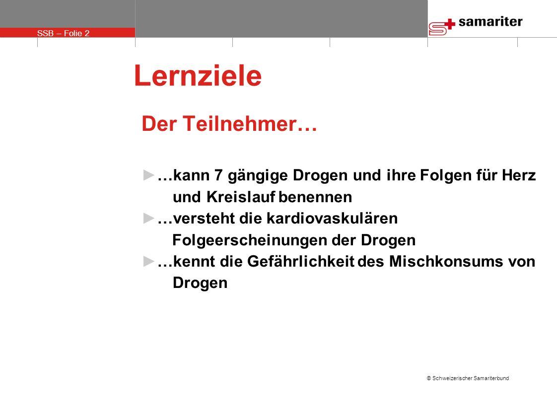 SSB – Folie 13 © Schweizerischer Samariterbund Gefährlicher Mischkonsum mit z.B.