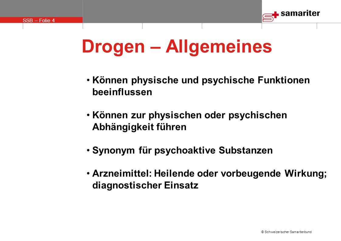 SSB – Folie 5 © Schweizerischer Samariterbund Verbreitete Drogen mit Auswirkungen auf das Herz-Kreislauf-System