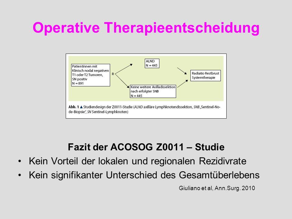 Operative Therapieentscheidung Fazit der ACOSOG Z0011 – Studie Kein Vorteil der lokalen und regionalen Rezidivrate Kein signifikanter Unterschied des
