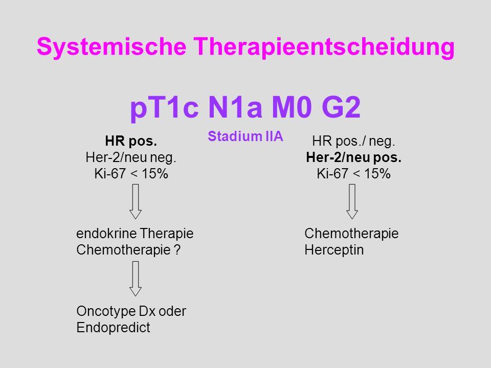 Systemische Therapieentscheidung pT1c N1a M0 G2 Stadium IIA HR pos. Her-2/neu neg. Ki-67 < 15% HR pos./ neg. Her-2/neu pos. Ki-67 < 15% endokrine Ther
