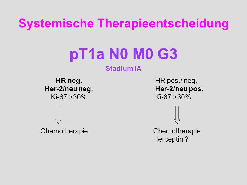 Systemische Therapieentscheidung pT1a N0 M0 G3 Stadium IA HR neg. Her-2/neu neg. Ki-67 >30% HR pos./ neg. Her-2/neu pos. Ki-67 >30% Chemotherapie Herc
