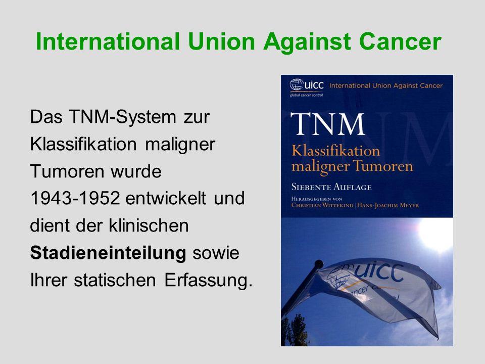International Union Against Cancer Das TNM-System zur Klassifikation maligner Tumoren wurde 1943-1952 entwickelt und dient der klinischen Stadieneinte