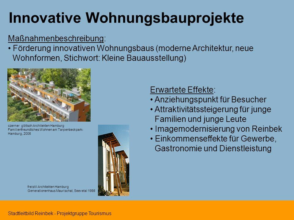 Stadtleitbild Reinbek - Projektgruppe Tourismus Innovative Wohnungsbauprojekte Maßnahmenbeschreibung: Förderung innovativen Wohnungsbaus (moderne Arch