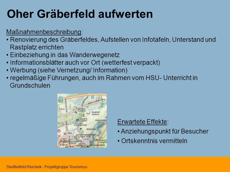 Stadtleitbild Reinbek - Projektgruppe Tourismus Oher Gräberfeld aufwerten Maßnahmenbeschreibung: Renovierung des Gräberfeldes, Aufstellen von Infotafe