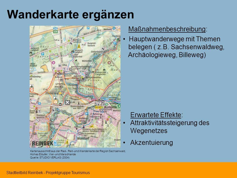 Stadtleitbild Reinbek - Projektgruppe Tourismus Wanderkarte ergänzen Kartenausschnitt aus der Rad-, Reit- und Wanderkarte der Region Sachsenwald, Hohe