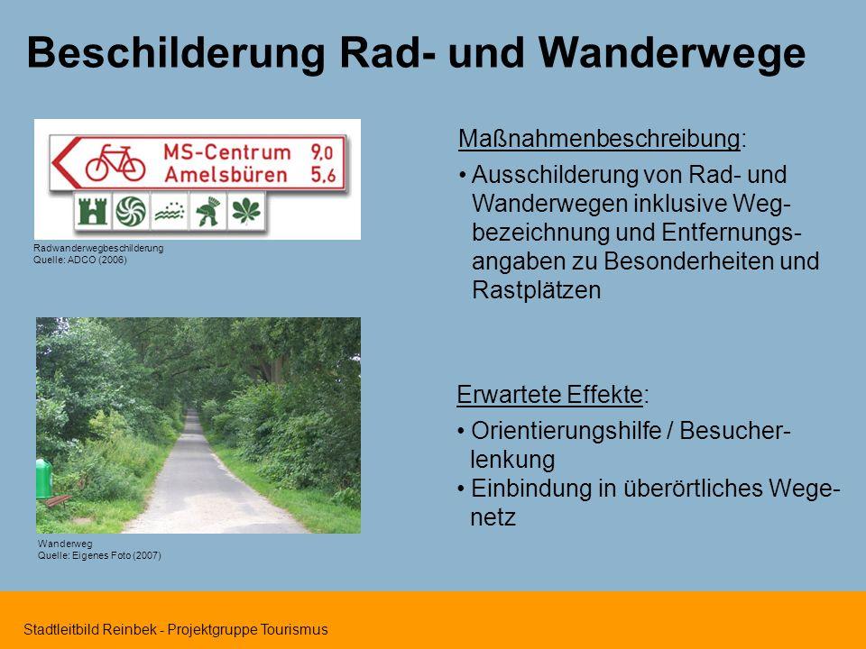 Stadtleitbild Reinbek - Projektgruppe Tourismus Beschilderung Rad- und Wanderwege Radwanderwegbeschilderung Quelle: ADCO (2006) Maßnahmenbeschreibung: