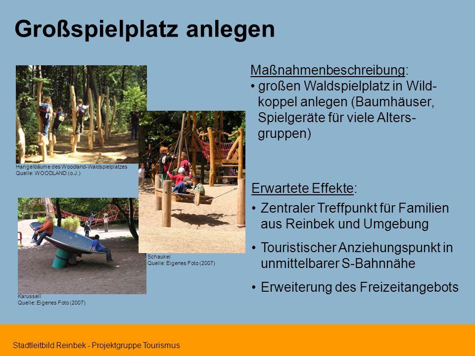 Stadtleitbild Reinbek - Projektgruppe Tourismus Hangelbäume des Woodland-Waldspielplatzes Quelle: WOODLAND (o.J.) Großspielplatz anlegen Erwartete Eff