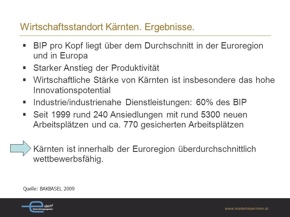 Wirtschaftsstandort Kärnten.Ergebnisse.