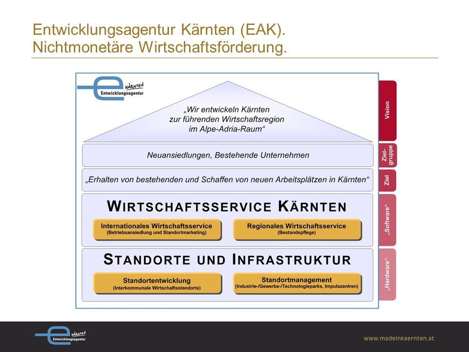 Entwicklungsagentur Kärnten (EAK). Nichtmonetäre Wirtschaftsförderung.