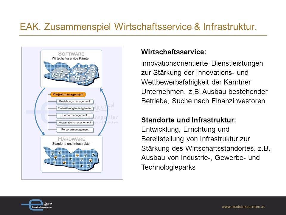 Wirtschaftsservice: innovationsorientierte Dienstleistungen zur Stärkung der Innovations- und Wettbewerbsfähigkeit der Kärntner Unternehmen, z.B.