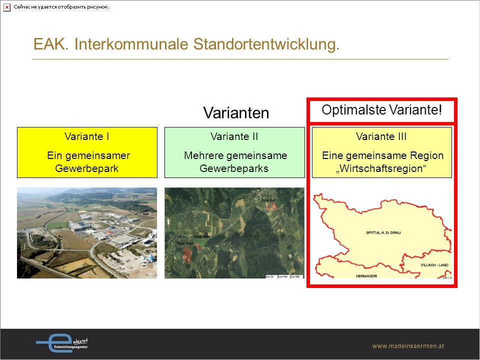 Varianten Variante I Ein gemeinsamer Gewerbepark Variante II Mehrere gemeinsame Gewerbeparks Variante III Eine gemeinsame Region Wirtschaftsregion Optimalste Variante.