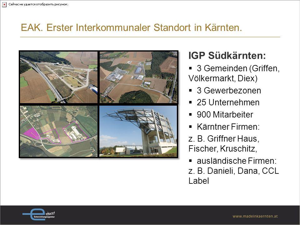 IGP Südkärnten: 3 Gemeinden (Griffen, Völkermarkt, Diex) 3 Gewerbezonen 25 Unternehmen 900 Mitarbeiter Kärntner Firmen: z.