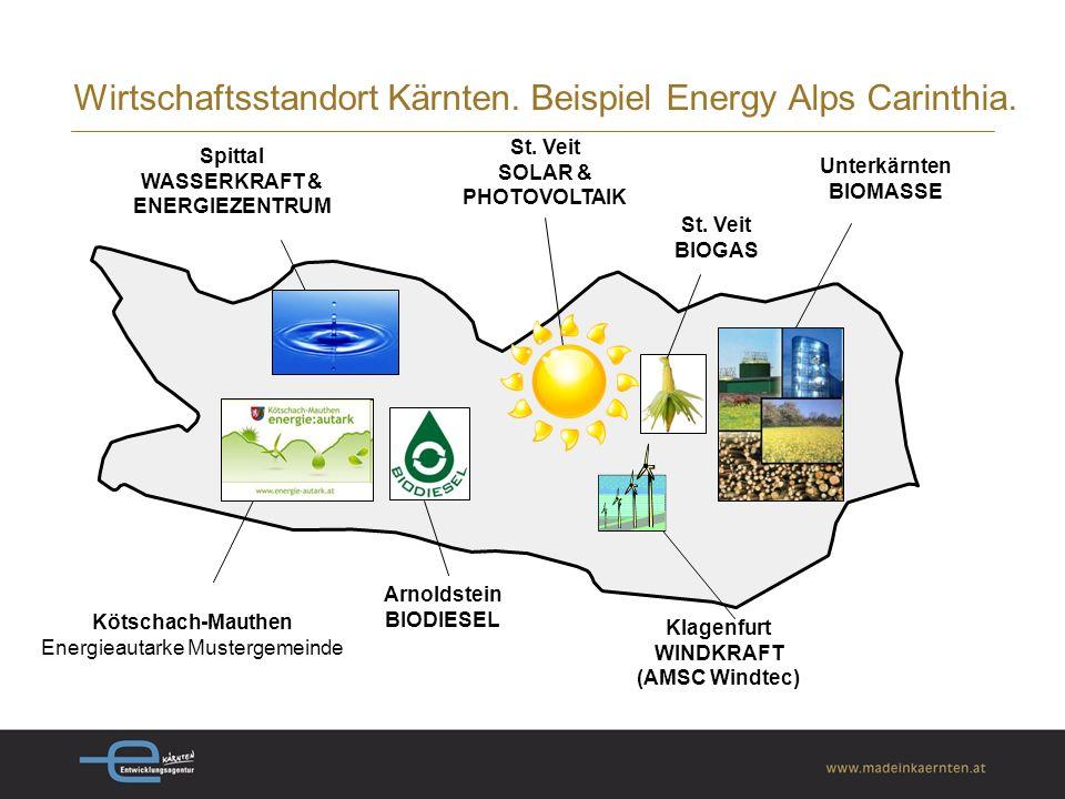 Energieverbrauch: 46,7 % durch erneuerbare Energieträger (österreichweit: 30 %; europaweit (EU27) 10,5%) österreichweit führend bei der Nutzung von Sonnenenergie (Kollektoren, Holz, Biomasse, Erdwärme) über 130 Betriebe in der Kärntner erneuerbaren Energiebranche produzieren rund 1,5 Mrd.