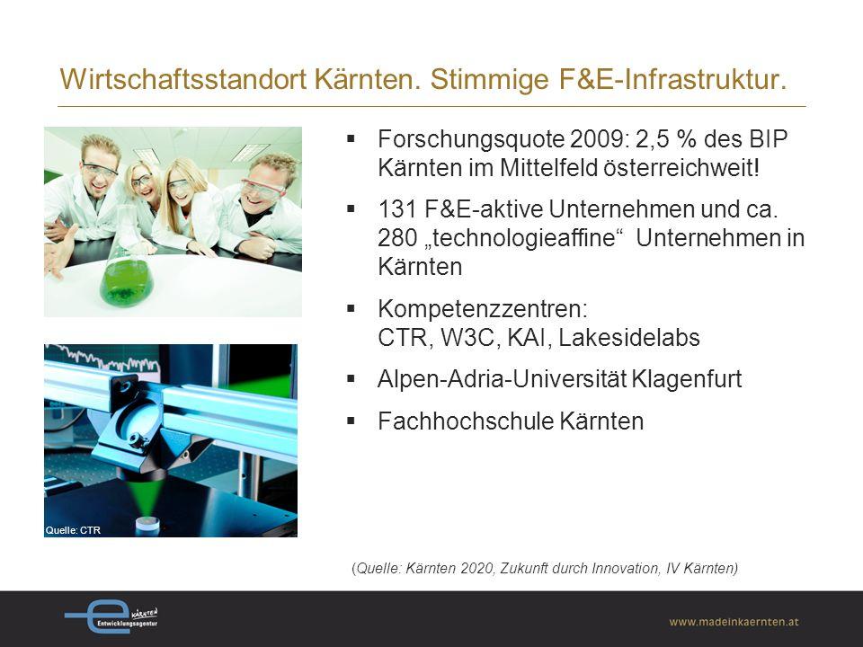 Quelle: BAKBASEL 2009 Wirtschaftsstandort Kärnten. Zentral in der Euroregion.