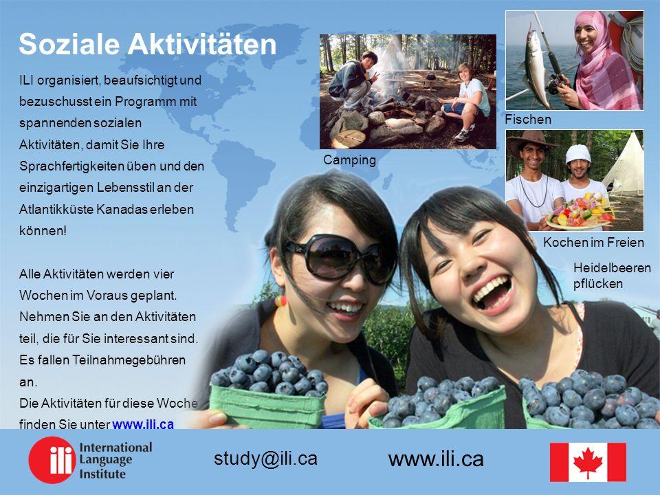 www.ili.ca study@ili.ca Soziale Aktivitäten ILI organisiert, beaufsichtigt und bezuschusst ein Programm mit spannenden sozialen Aktivitäten, damit Sie Ihre Sprachfertigkeiten üben und den einzigartigen Lebensstil an der Atlantikküste Kanadas erleben können.
