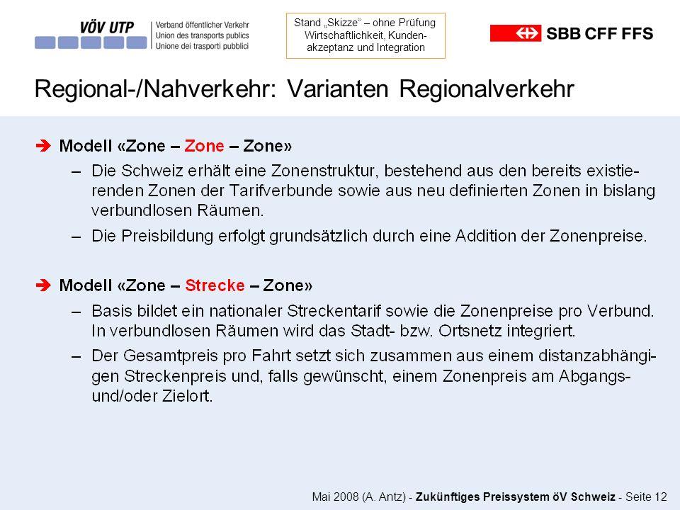 Mai 2008 (A. Antz) - Zukünftiges Preissystem öV Schweiz - Seite 12 Regional-/Nahverkehr: Varianten Regionalverkehr Stand Skizze – ohne Prüfung Wirtsch