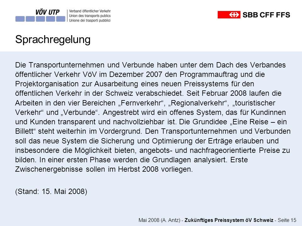 Mai 2008 (A. Antz) - Zukünftiges Preissystem öV Schweiz - Seite 15 Sprachregelung Die Transportunternehmen und Verbunde haben unter dem Dach des Verba