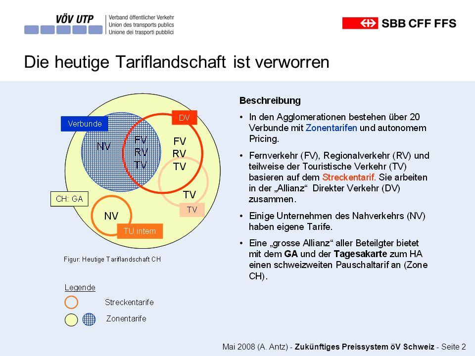 Mai 2008 (A. Antz) - Zukünftiges Preissystem öV Schweiz - Seite 2 Die heutige Tariflandschaft ist verworren