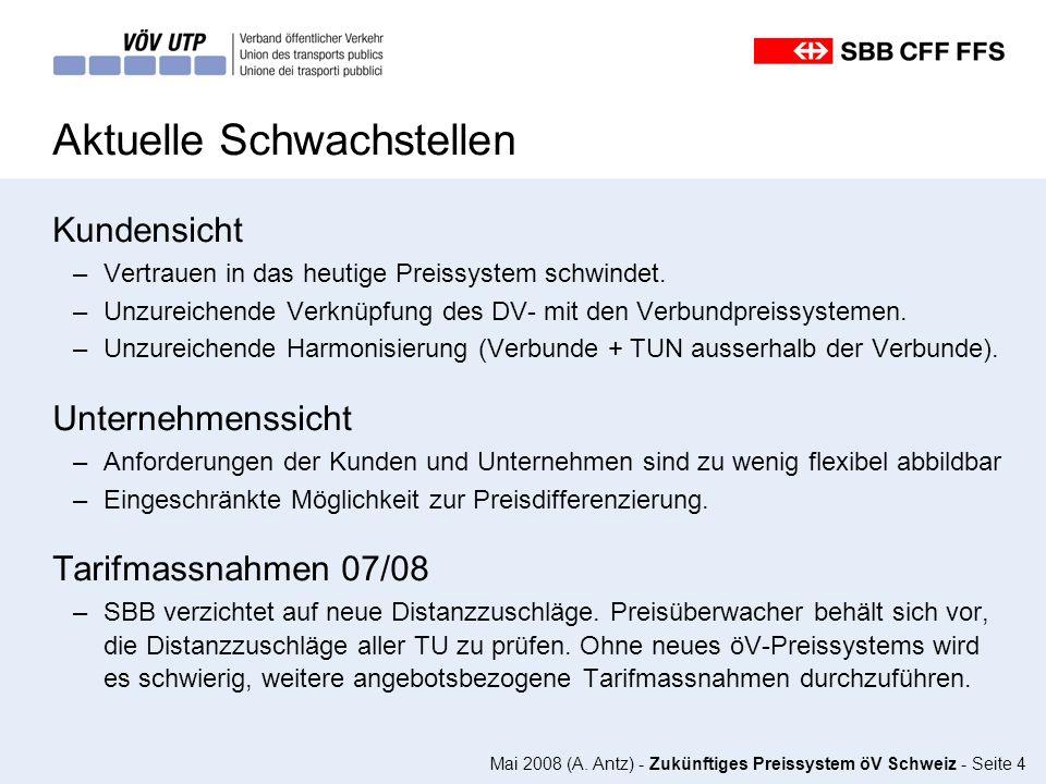 Mai 2008 (A. Antz) - Zukünftiges Preissystem öV Schweiz - Seite 4 Aktuelle Schwachstellen Kundensicht –Vertrauen in das heutige Preissystem schwindet.