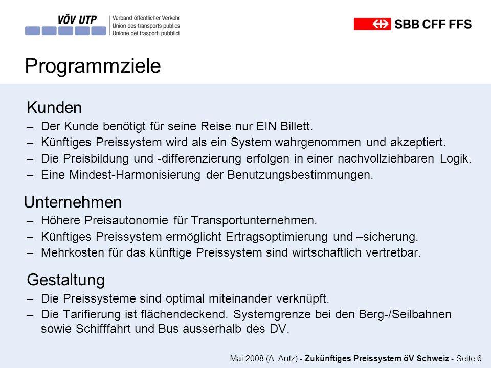 Mai 2008 (A. Antz) - Zukünftiges Preissystem öV Schweiz - Seite 6 Programmziele Kunden –Der Kunde benötigt für seine Reise nur EIN Billett. –Künftiges