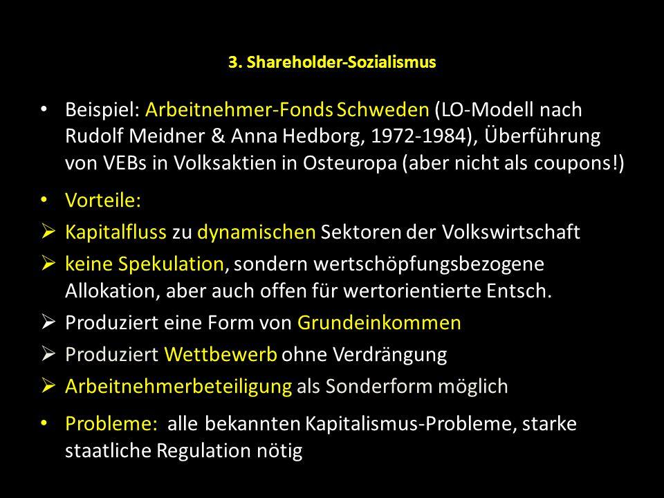 3. Shareholder-Sozialismus Beispiel: Arbeitnehmer-Fonds Schweden (LO-Modell nach Rudolf Meidner & Anna Hedborg, 1972-1984), Überführung von VEBs in Vo