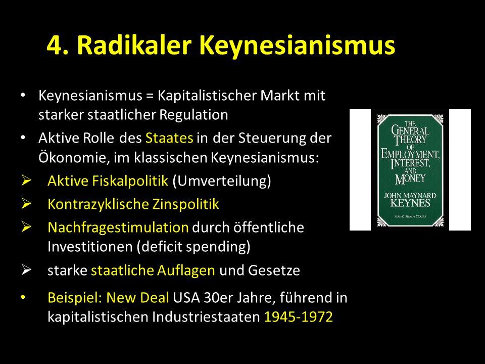 4. Radikaler Keynesianismus Keynesianismus = Kapitalistischer Markt mit starker staatlicher Regulation Aktive Rolle des Staates in der Steuerung der Ö