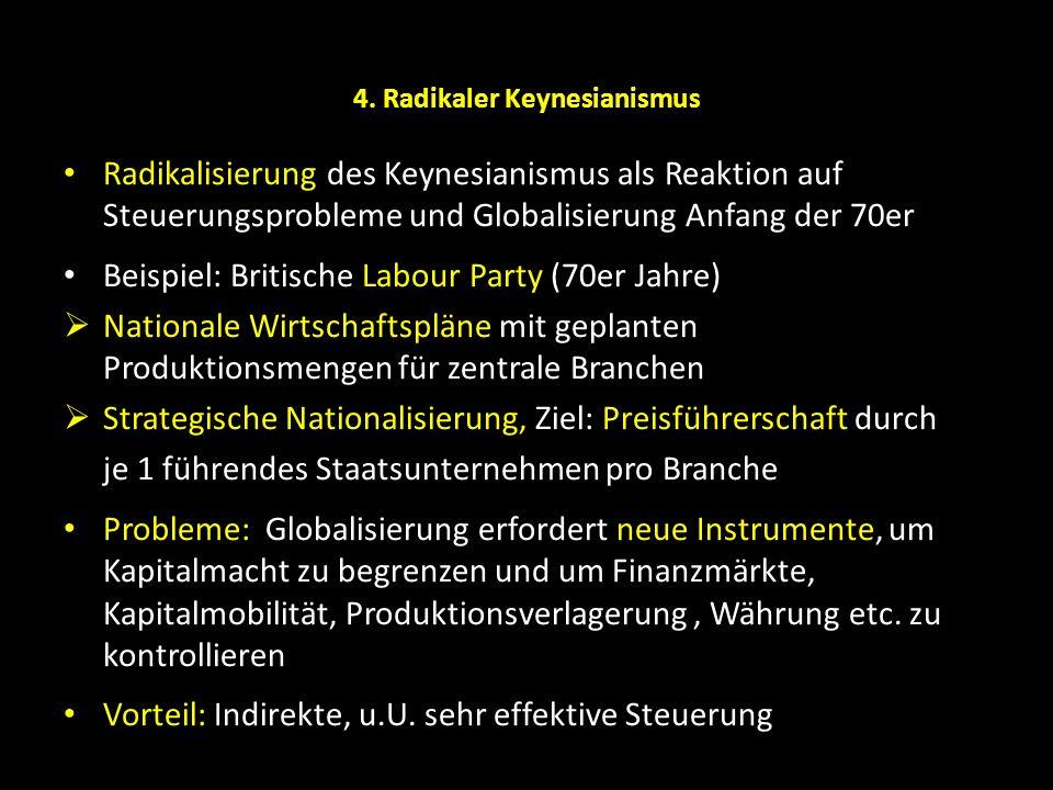4. Radikaler Keynesianismus Radikalisierung des Keynesianismus als Reaktion auf Steuerungsprobleme und Globalisierung Anfang der 70er Beispiel: Britis