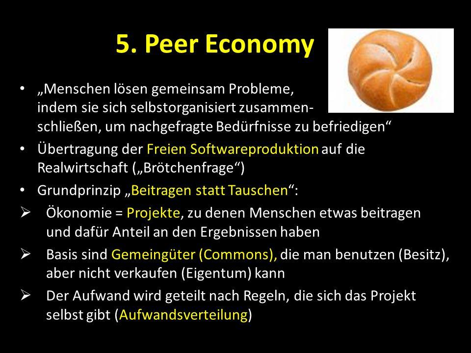 5. Peer Economy Menschen lösen gemeinsam Probleme, indem sie sich selbstorganisiert zusammen- schließen, um nachgefragte Bedürfnisse zu befriedigen Üb