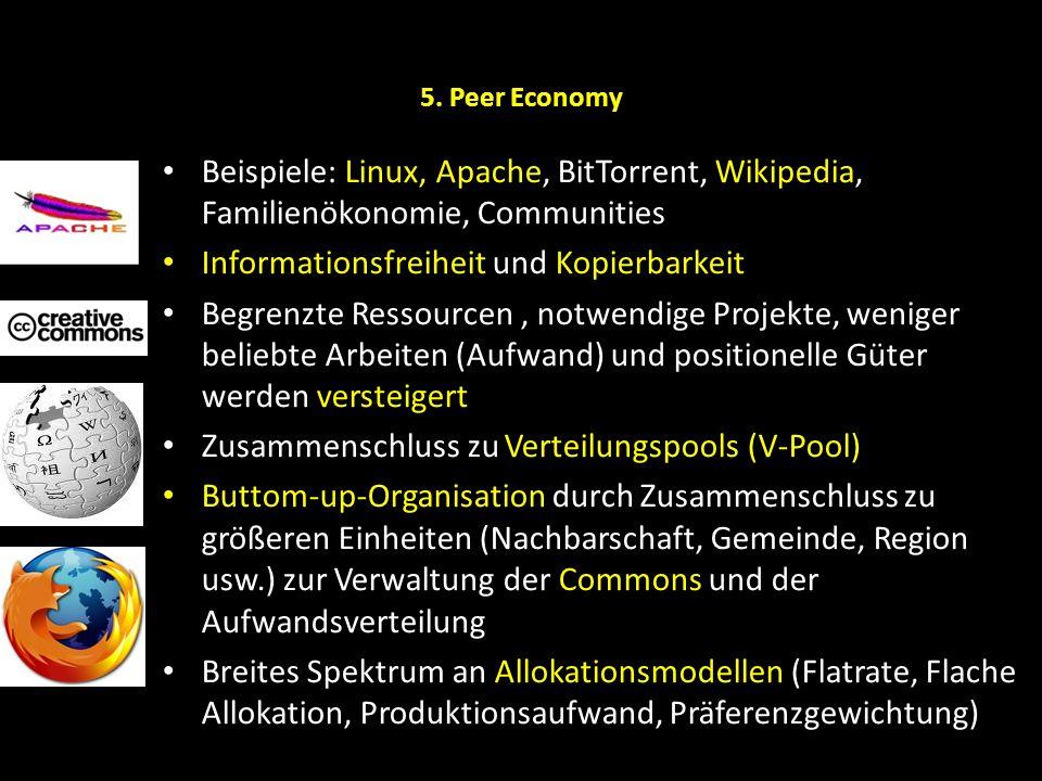 5. Peer Economy Beispiele: Linux, Apache, BitTorrent, Wikipedia, Familienökonomie, Communities Informationsfreiheit und Kopierbarkeit Begrenzte Ressou