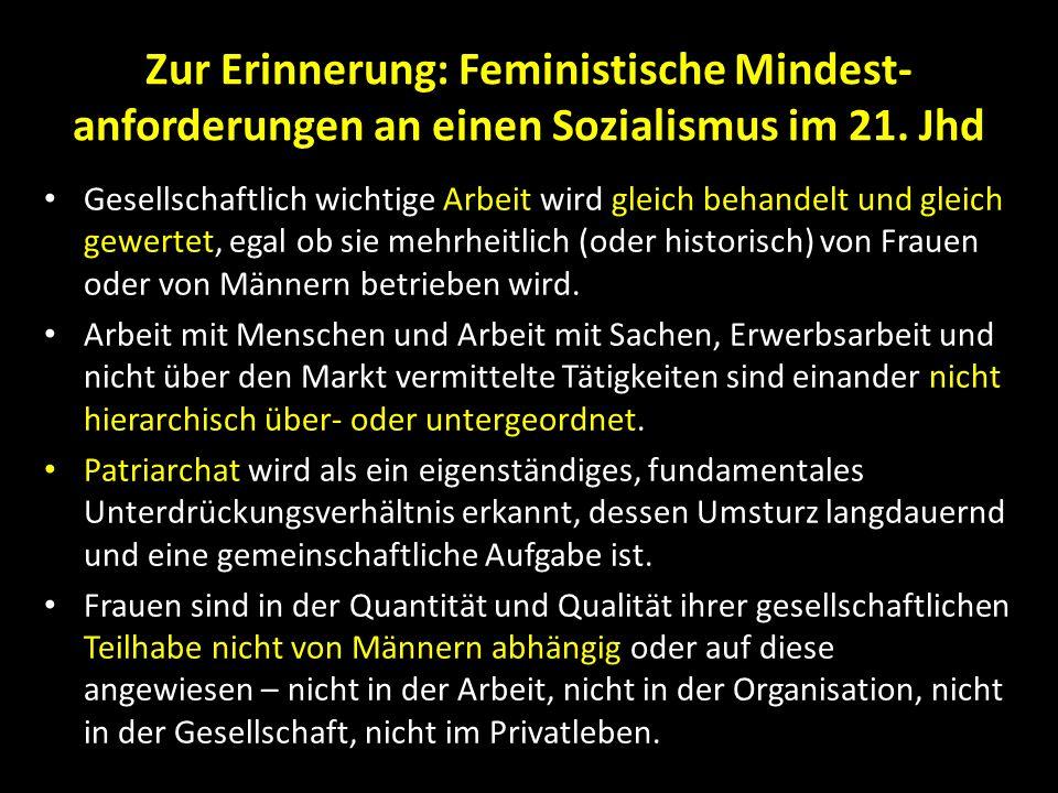 Zur Erinnerung: Feministische Mindest- anforderungen an einen Sozialismus im 21. Jhd Gesellschaftlich wichtige Arbeit wird gleich behandelt und gleich