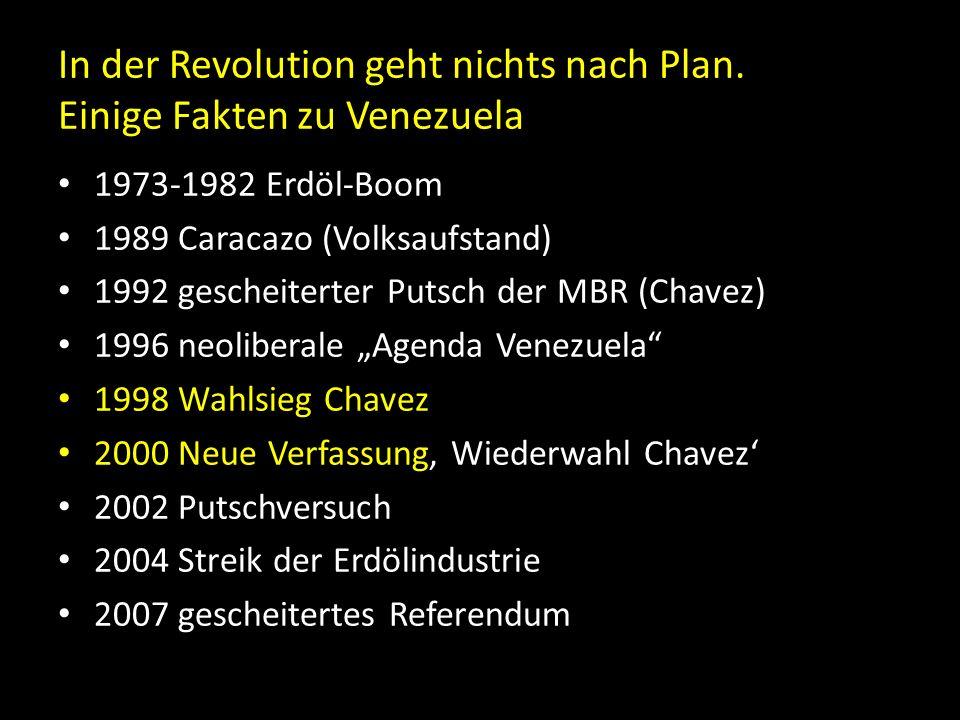 In der Revolution geht nichts nach Plan. Einige Fakten zu Venezuela 1973-1982 Erdöl-Boom 1989 Caracazo (Volksaufstand) 1992 gescheiterter Putsch der M