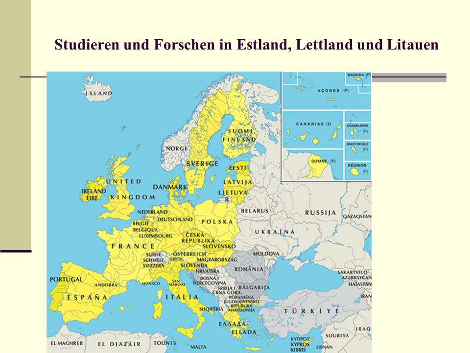 Studieren und Forschen in Estland, Lettland und Litauen Pädagogische Akademie Liepaja http://www.lieppa.lv einzelne Studienangebote D, E u.a.