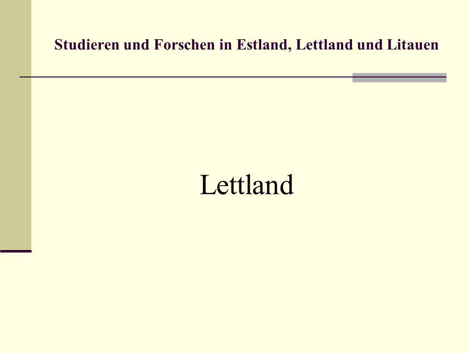 Studieren und Forschen in Estland, Lettland und Litauen Informationsstellen Estland Estnische ENIC/NARIC-Stiftung Archimedes Kohtu 6 10130 Tallinn, Estland Tel.