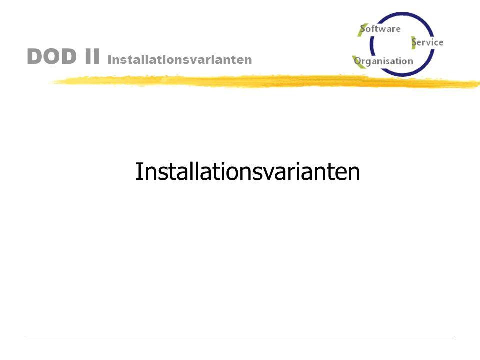 DOD II Inhalt Mögliche Installationsvarianten Software- und Organisations-Service GmbH www.sos-berlin.com Schulung Installationsvoraussetzungen Systemumfeld Lieferumfang Support Exits