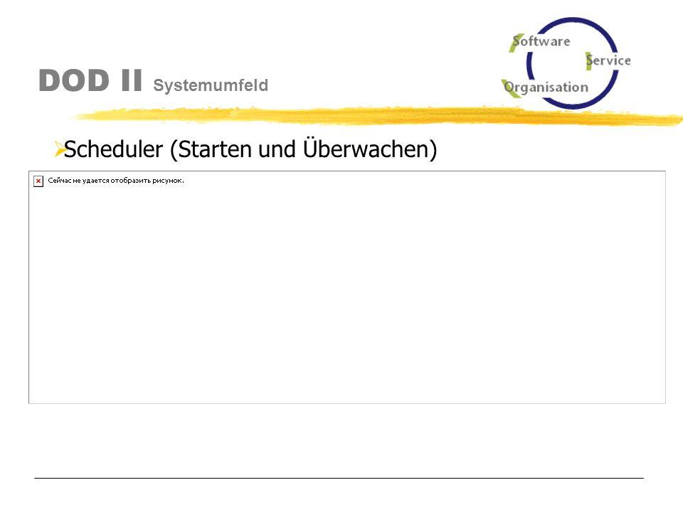 DOD II Systemumfeld Scheduler Jobdefinitionen in der XML-Datei Datenbankverbindung Einstellungen (sos.ini, dod.ini, dod.xml) Startdatei Starten und Überwachen
